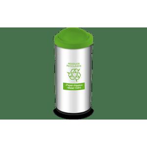 Lixeira-Residuos-Reciclaveis-com-Tampa-Basculante-e-Adesivo-Verde-405-Litros---Decorline-Lixeiras-Ø-30-x-60-cm