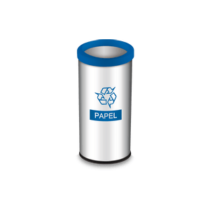 Lixeira-Seletiva-com-Aro-e-Adesivo-Azul-405-Litros---Decorline-Lixeiras-Ø-30-x-60-cm