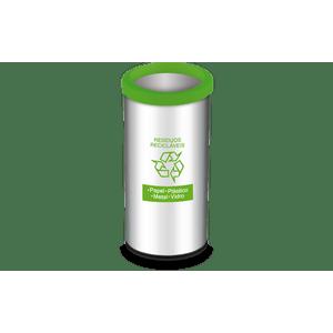 Lixeira-Residuos-Reciclaveis-com-Aro-e-Adesivo-Verde-405-Litros---Decorline-Lixeiras-Ø-30-x-60-cm