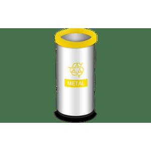 Lixeira-Seletiva-com-Aro-e-Adesivo-Amarelo-405-Litros---Decorline-Lixeiras-Ø-30-x-60-cm