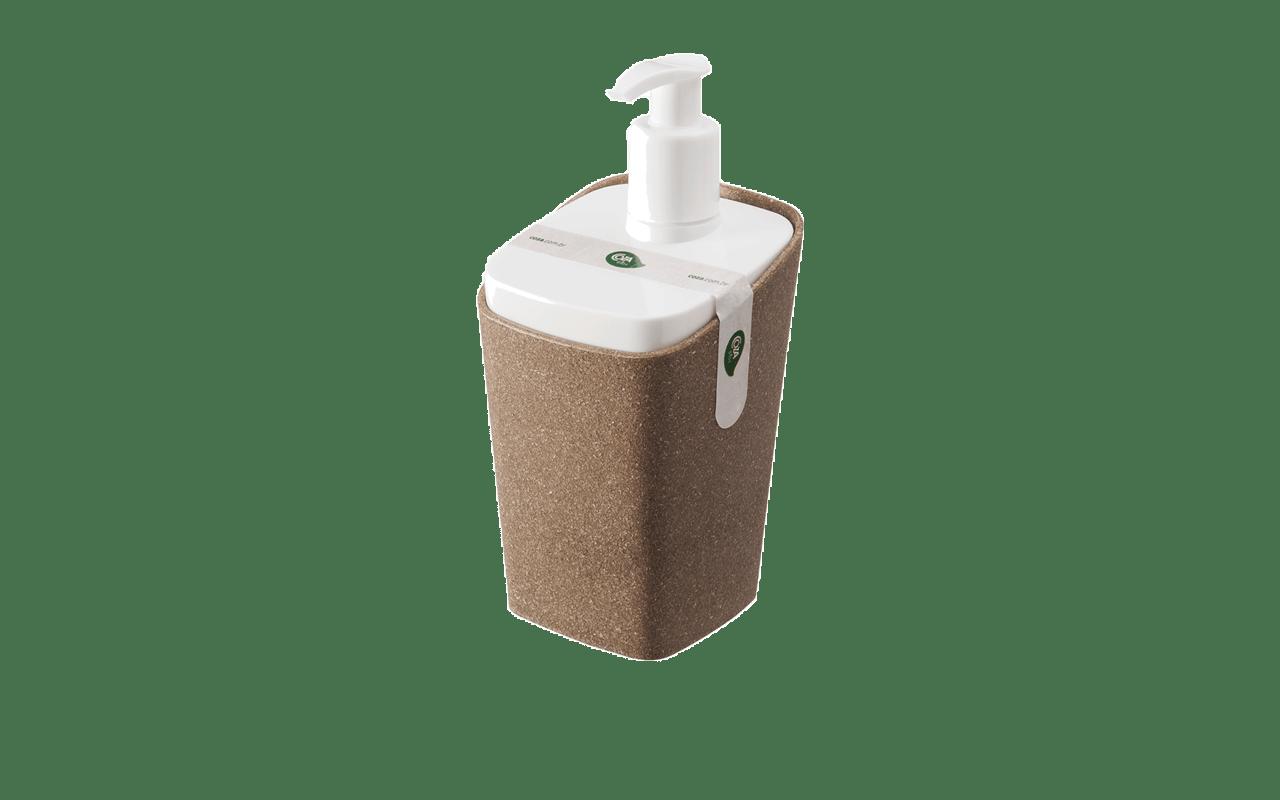 Modernidade para o banheiro com seu formato diferente e cantos arredondados. É bicolor e prático de usar, além de otimizar os espaços. A biqueira está pocisionada na parte da frente, impedindo o acúmulo de sabonete no produto. Produzido com a adição de lignina - substância orgânica obtida no processo de separação da celulose mais fibras naturais: linho, cânhamo e sisal, injetadas com polipropileno, faz parte da nova linha Coza Bios. É a beleza clássica da madeira associada à praticidade do plástico.