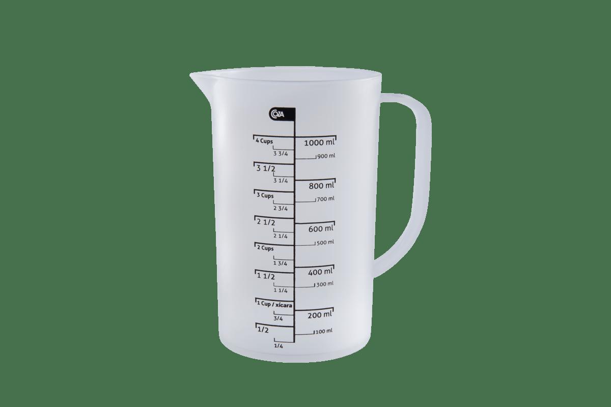 Com a Jarra Medidora não tem erro na cozinha. Com capacidade de 1 L, ela é ideal para medir quantidades maiores de líquidos. As marcações são em copos ou em mililitros para ajudar a seguir exatamente a descrição de quantidade em qualquer receita. Para faciliar seu trabalho, a jarra pode ir ao microondas e à lava-louças.