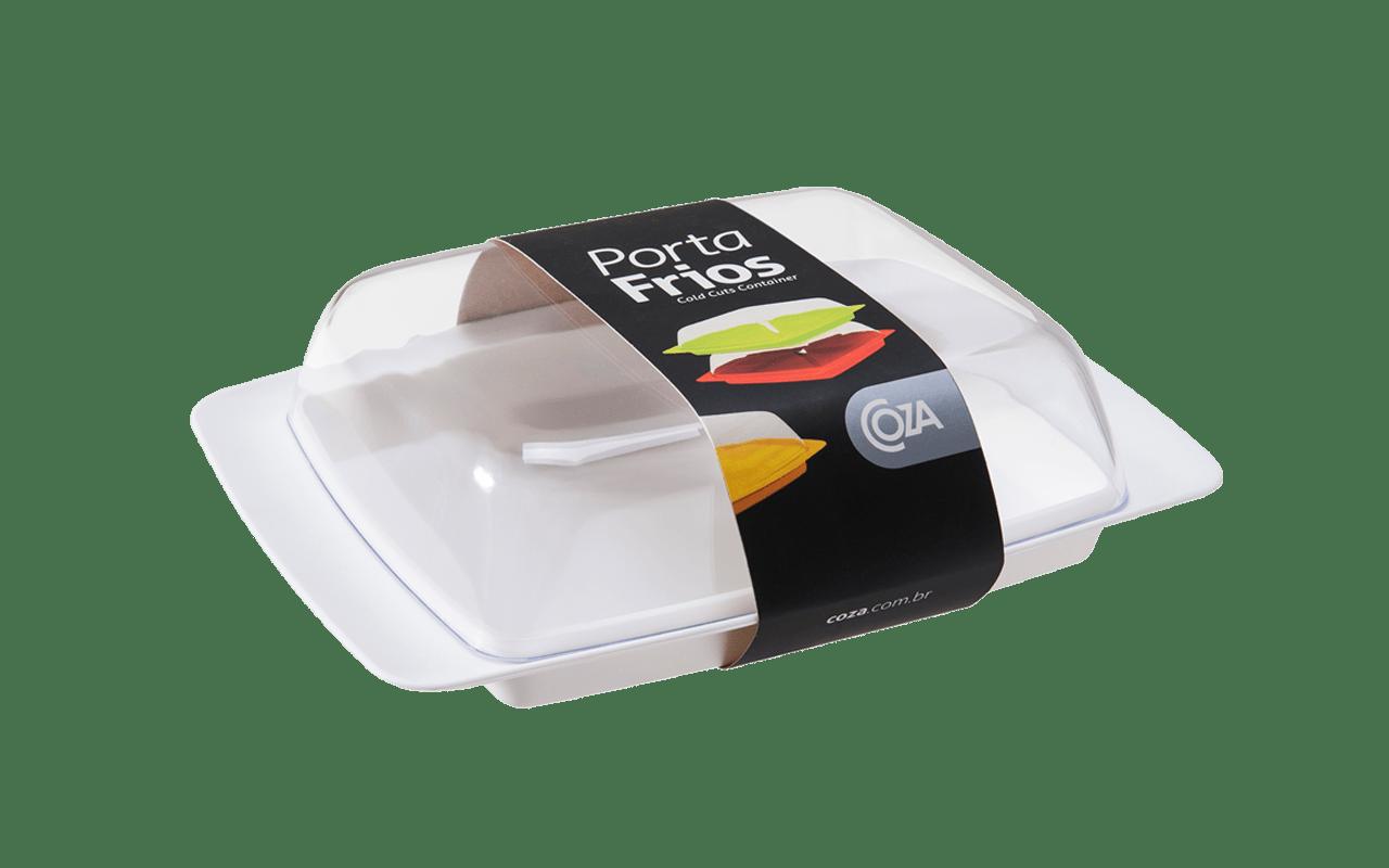 Com base e tampa em poliestireno, para acomodar os frios na geladeira. Fácil de empilhar. É o estilo Coza nos mínimos detalhes.