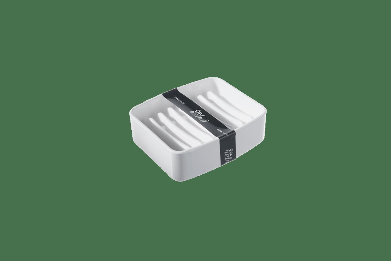 Com design de linhas simples e retas, a saboneteira é perfeita para organizar a bancada do banheiro. Em cores transparentes ou compactas, oferece praticidade na medida certa.