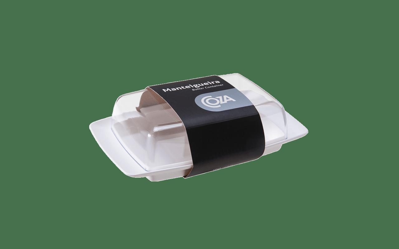 A Manteigueira da Coza é mais um produto que chega ao mercado para atender a uma demanda por peças úteis do dia-a-dia com design. Empilhável, tem base e tampa em poliestireno (transparente). Também pode ser utilizada para acomodar pequenos frios e goiabada, na geladeira.