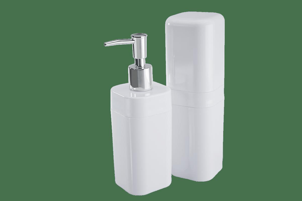 Composto por um porta escova com tampa e um porta sabonete líquido, é uma solução prática e bonita para organizar seu banheiro. Uma excelente sugestão de presente!