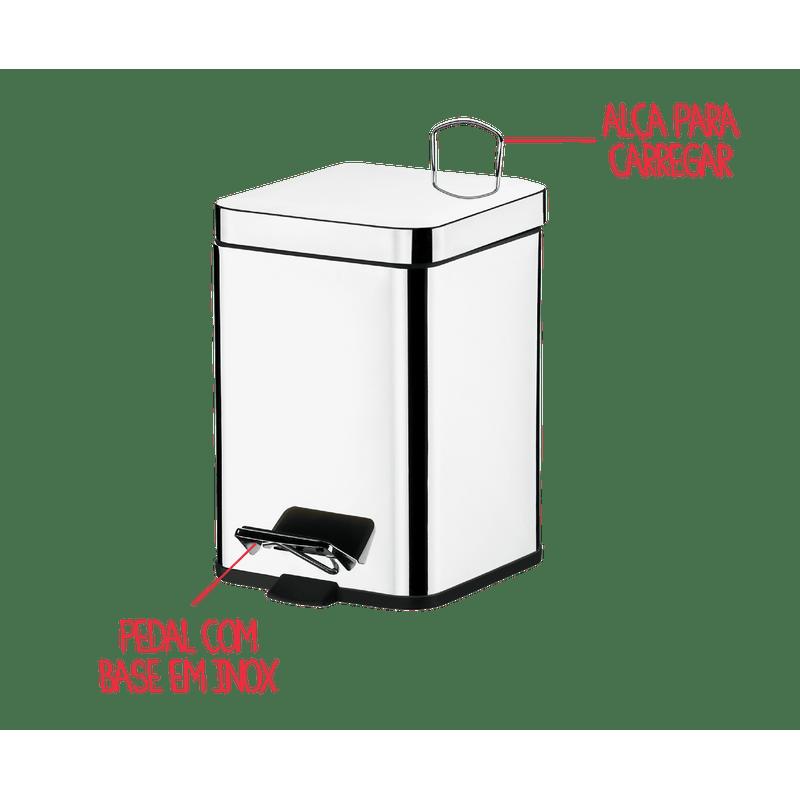 Lixeira-Quadrada-Inox-com-Pedal-e-Balde-6-Litros---Decorline-Lixeiras-20-x-20-x-305-cm