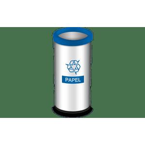 Lixeira-Seletiva-com-Aro-e-Adesivo-Azul-405-Litros---Decorline-Lixeiras-Ø-30-x-60-cm---Brinox