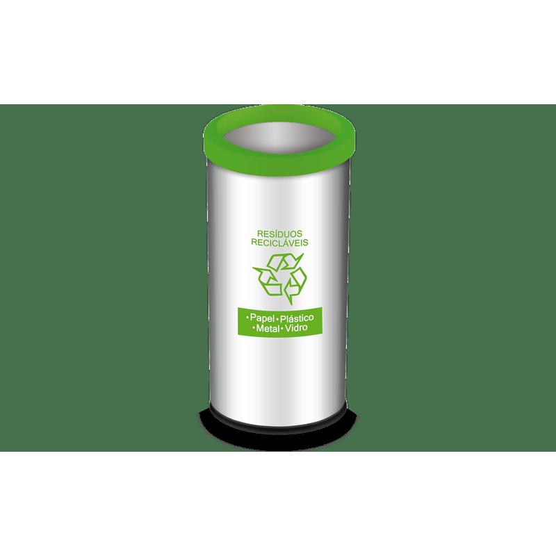 Lixeira-Residuos-Reciclaveis-com-Aro-e-Adesivo-Verde-405-Litros---Decorline-Lixeiras-Ø-30-x-60-cm---Brinox